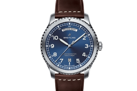 Breitling Navitimer 8 Automatic Day & Date 41 - Stainless Steel on Brown Leather - Blue Dial
