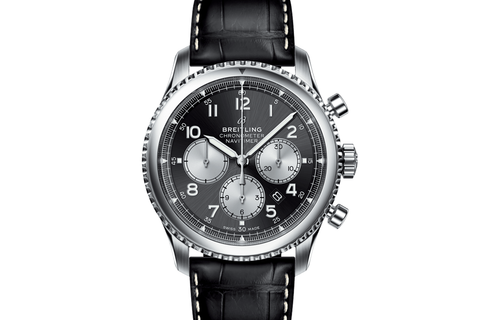 Breitling Navitimer 8 B01 Chronograph 43 - Stainless Steel on Black Leather - Black Dial