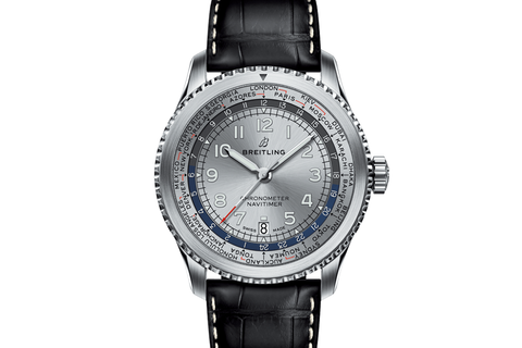 Breitling Navitimer 8 B35 Automatic Unitime 43 - Stainless Steel on Black Leather - Silver Dial
