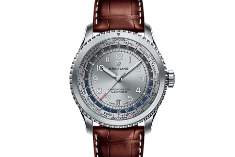 Breitling Navitimer 8 B35 Automatic Unitime 43 - Stainless Steel on Brown Leather - Silver Dial