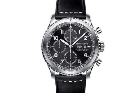 Breitling Navitimer 8 Chronograph 43 - Stainless Steel on Black Leather - Black Dial