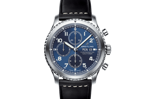 Breitling Navitimer 8 Chronograph 43 - Stainless Steel on Black Leather - Blue Dial