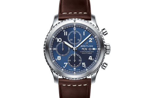 Breitling Navitimer 8 Chronograph 43 - Stainless Steel on Brown Leather - Blue Dial