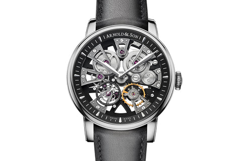Arnold & Son Nebula - Stainless Steel on Black Leather - Black Skeleton Dial