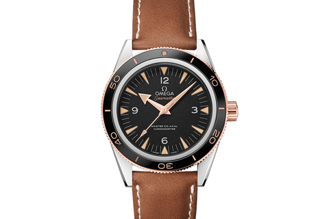 Omega Seamaster 300 Co-Axial 41mm Stainless Steel & 18K Rose Gold on Brown Leather Strap - Black Dial