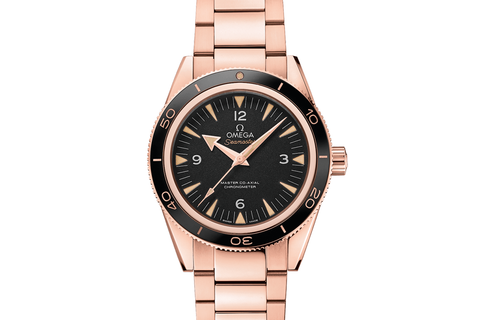 Omega Seamaster 300 Co-Axial 41mm 18K Rose Gold on Bracelet - Black Dial