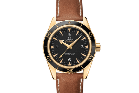 Omega Seamaster 300 Co-Axial 41mm 18K Yellow Gold on Brown Leather Strap - Black Dial