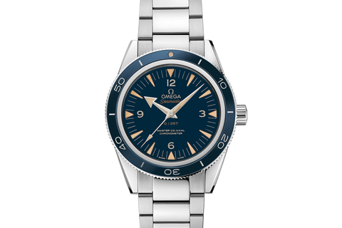 Omega Seamaster 300 Co-Axial 41mm Platinum on Bracelet - Blue Dial