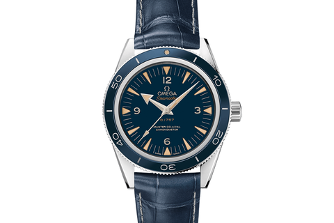Omega Seamaster 300 Co-Axial 41mm Platinum on Blue Leather Strap - Blue Dial