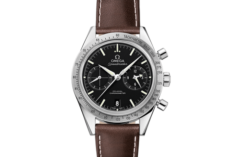 Omega Speedmaster '57 Co-Axial Chronograph 41.5mm Stainless Steel on Brown Leather - Black Dial