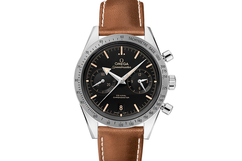 Omega Speedmaster '57 Co-Axial Chronograph 41.5mm Stainless Steel on Brown Leather - Black Broad Arrow Dial