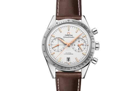 Omega Speedmaster '57 Co-Axial Chronograph 41.5mm Stainless Steel on Brown Leather - Silver Dial