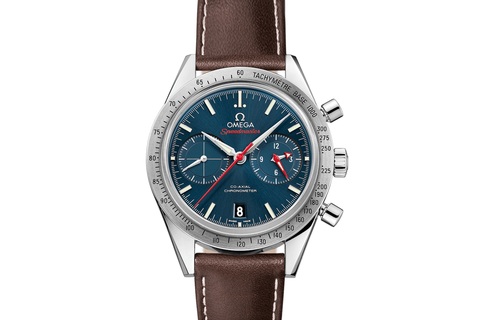 Omega Speedmaster '57 Co-Axial Chronograph 41.5mm Stainless Steel on Brown Leather - Blue Dial