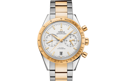 Omega Speedmaster '57 Co-Axial Chronograph 41.5mm Stainless Steel & 18K Yellow Gold on Bracelet - White Dial