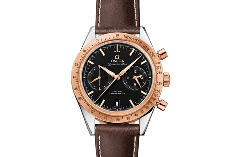 Omega Speedmaster '57 Co-Axial Chronograph 41.5mm Stainless Steel & 18K Rose Gold on Brown Leather - Black Dial