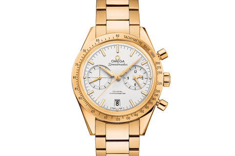 Omega Speedmaster '57 Co-Axial Chronograph 41.5mm 18K Yellow Gold on Bracelet - Silver Dial