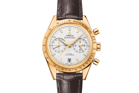 Omega Speedmaster '57 Co-Axial Chronograph 41.5mm 18K Yellow Gold on Brown Leather - Silver Dial
