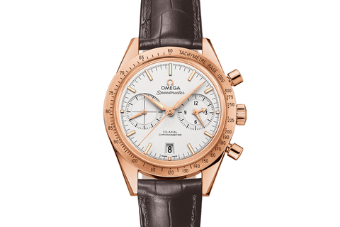 Omega Speedmaster '57 Co-Axial Chronograph 41.5mm 18K Rose Gold on Brown Leather - Silver Dial