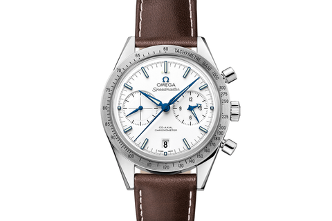 Omega Speedmaster '57 Co-Axial Chronograph 41.5mm Titanium on Brown Leather - White & Blue