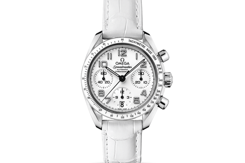 Omega Speedmaster Chronograph 38mm Stainless Steel on White Leather - White Pearl