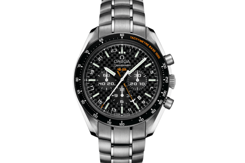 Omega Speedmaster HB-SIA Co-Axial GMT Chronograph Numbered Edition 44.25 mm Titanium on Bracelet - Carbon Fiber Dial