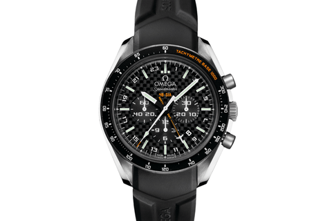 Omega Speedmaster HB-SIA Co-Axial GMT Chronograph Numbered Edition 44.25 mm Titanium on Black Rubber - Carbon Fiber Dial