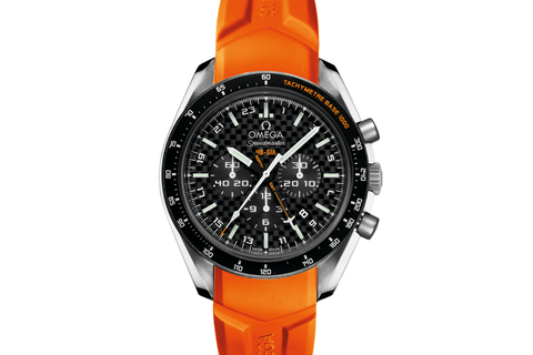 Omega Speedmaster HB-SIA Co-Axial GMT Chronograph Numbered Edition 44.25 mm Titanium on Orange Rubber - Carbon Fiber Dial
