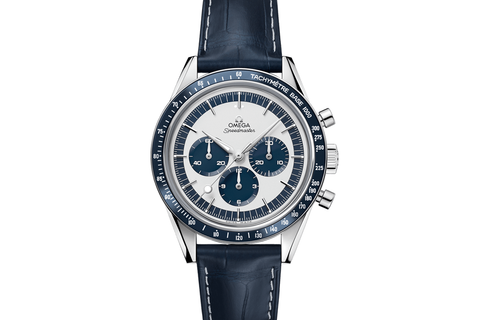 Omega Speedmaster Moonwatch Chronograph 39.7mm Stainless Steel on Blue Leather - White & Blue