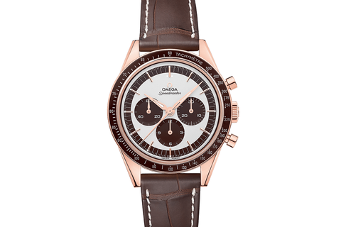 Omega Speedmaster Moonwatch Chronograph 39.7mm 18K Rose Gold on Brown Leather - White & Brown