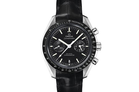 Omega Speedmaster Moonwatch Co-Axial Chronograph 44.25mm Stainless Steel on Black Leather - Black Dial