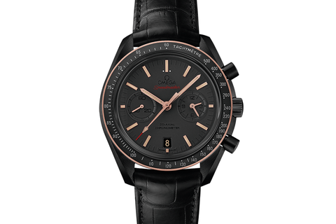 Omega Speedmaster Moonwatch Co-Axial Chronograph 44.25mm Black Ceramic & 18K Rose Gold on Black Leather - Black Dial