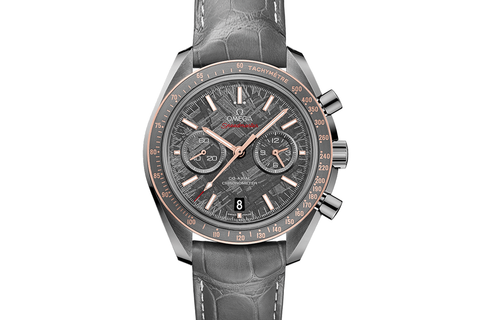 Omega Speedmaster Moonwatch Co-Axial Chronograph 44.25mm Meteorite Ceramic on Grey Leather - Grey Meteorite Dial Titanium Clasp