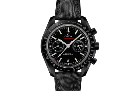 Omega Speedmaster Moonwatch Co-Axial Chronograph 44.25mm Dark Side of the Moon Black Ceramic on Black Nylon - Black Dial