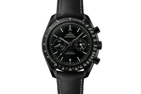 Omega Speedmaster Moonwatch Co-Axial Chronograph 44.25mm Pitch Black Ceramic on Black Leather - Black Dial