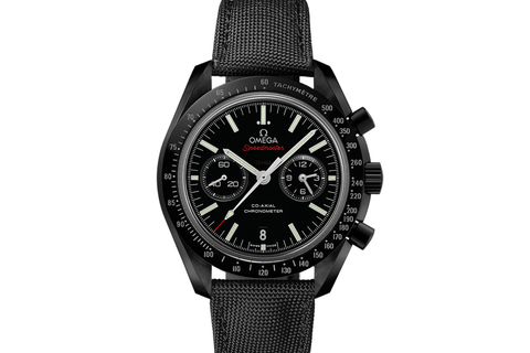 Omega Speedmaster Moonwatch Co-Axial Chronograph 44.25mm Dark Side of the Moon Black Ceramic on Black Nylon - Black Dial Titanium Clasp