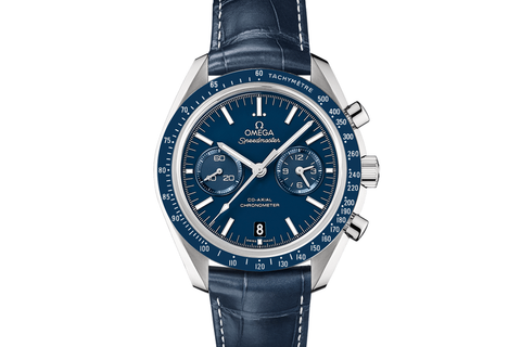 Omega Speedmaster Moonwatch Co-Axial Chronograph 44.25mm Titanium on Blue Leather - Blue Dial
