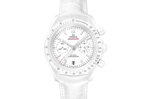 Omega Speedmaster Moonwatch Co-Axial Chronograph 44.25mm White Side of the Moon Ceramic on White Leather - White Dial