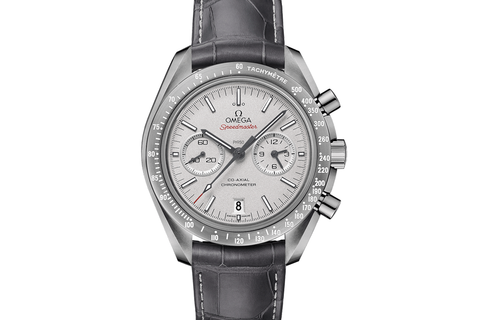 Omega Speedmaster Moonwatch Co-Axial Chronograph 44.25mm Grey Side of the Moon Ceramic on Grey Leather - Silver Dial Titanium Clasp