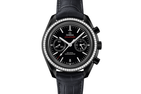 Omega Speedmaster Moonwatch Co-Axial Chronograph 44.25mm Dark Side of the Moon Black Ceramic on Black Leather - Black Dial w/ Diamond Bezel