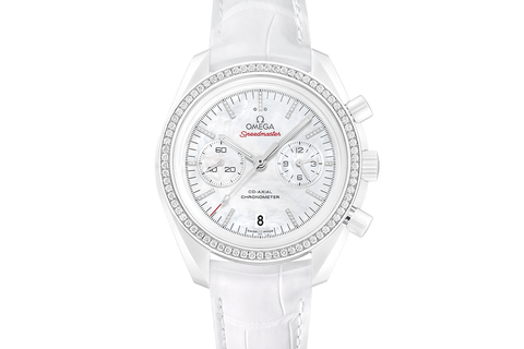 Omega Speedmaster Moonwatch Co-Axial Chronograph 44.25mm White Side of the Moon Ceramic on White Leather - White Dial w/ Diamond Bezel