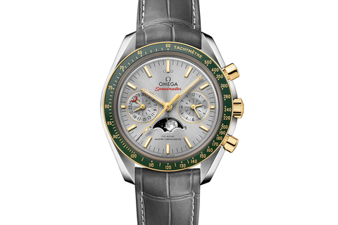 Omega Speedmaster Moonwatch Co-Axial Master Chronometer Moonphase Chronograph 44.25mm Stainless Steel & 18K Yellow Gold on Grey Leather - Silver & Green