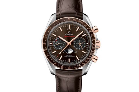 Omega Speedmaster Moonwatch Co-Axial Master Chronometer Moonphase Chronograph 44.25mm Stainless Steel & 18K Rose Gold on Brown Leather - Brown Dial