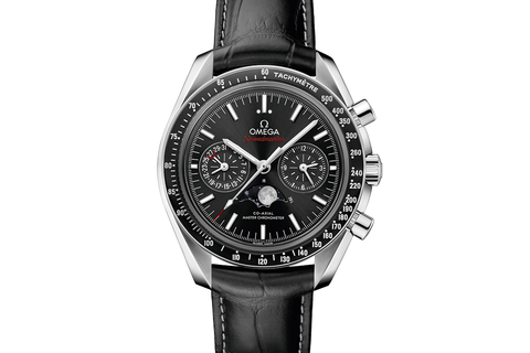 Omega Speedmaster Moonwatch Co-Axial Master Chronometer Moonphase Chronograph 44.25mm Stainless Steel on Black Leather - Black Dial