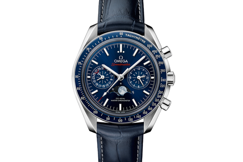 Omega Speedmaster Moonwatch Co-Axial Master Chronometer Moonphase Chronograph 44.25mm Stainless Steel on Blue Leather - Blue Dial