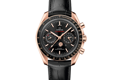 Omega Speedmaster Moonwatch Co-Axial Master Chronometer Moonphase Chronograph 44.25mm 18K Rose Gold on Black Leather - Black Dial