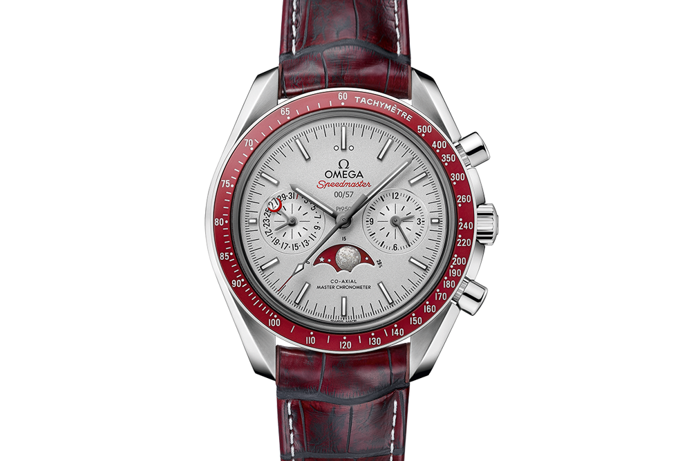 8049c5125e993 Omega Speedmaster Moonwatch Co-Axial Master Chronometer Moonphase  Chronograph 44.25mm Platinum on Red Leather - Silver Dial Red Bezel