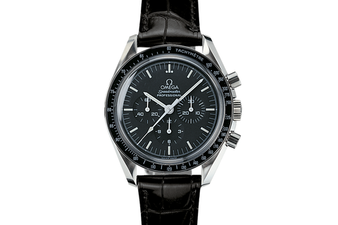 Omega Speedmaster Moonwatch Professional Chronograph 42mm Stainless Steel on Black Leather - Black Dial w/ Hesalite