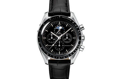 Omega Speedmaster Moonwatch Professional Moonphase Chronograph 42mm Stainless Steel on Black Leather - Black Dial