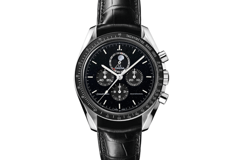 Omega Speedmaster Moonwatch Professional Moonphase Chronograph 44.25mm Stainless Steel on Black Leather - Black Dial