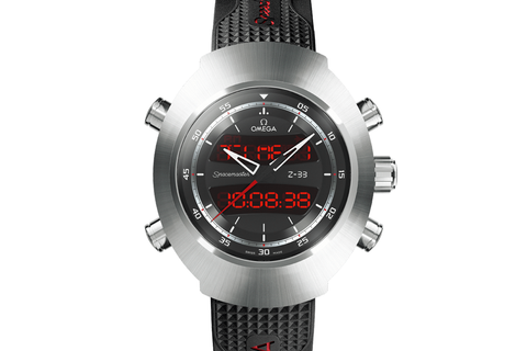 Omega Speedmaster Spacemaster Z-33 Chronograph 43 x 53mm Titanium on Black Rubber Strap - Grey Dial